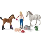 Schleich_Farm_World_Vet_visiting_mare_and_foal_42486